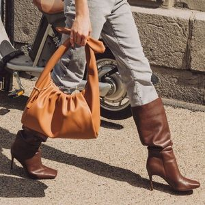 Square Toe Slouchy dark brown boot